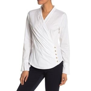 Laundry by Shelli Segal Pleated Side Button Top